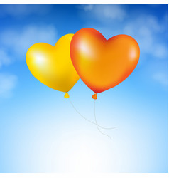 Blue sky and two balloons vector