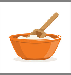 Bowl of flour with a wooden scoop baking vector