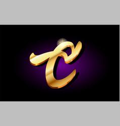C alphabet letter golden 3d logo icon design vector