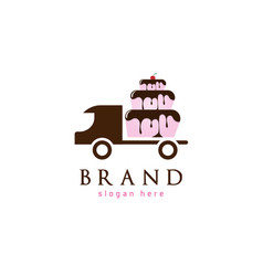 Cake delivery logo vector