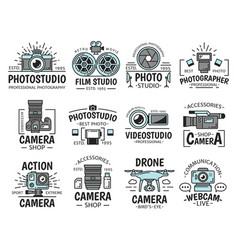 camera and movie projector photo and film studio vector image