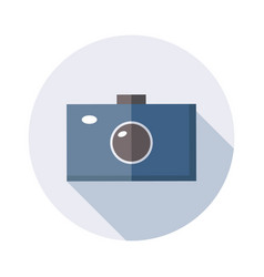 camera icon with long shadow isolated on white vector image