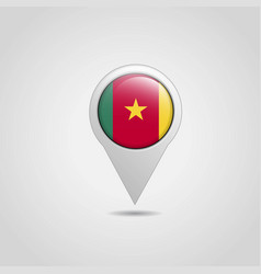 cameroon flag map pointer design vector image