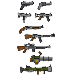 Cartoon weapons and firearms icons vector