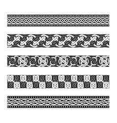Celtic traditional ornament borders with geometri vector