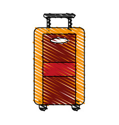 Color crayon stripe image travel suitcase with vector