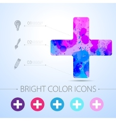cross icon with infographic elements vector image