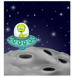 Cute alien cartoon in the spaceship vector image