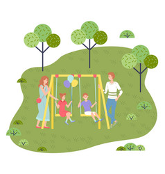 Dad and mom ride children on a swing girl vector