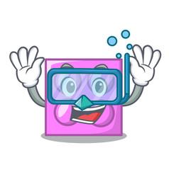 Diving toy brick character cartoon vector
