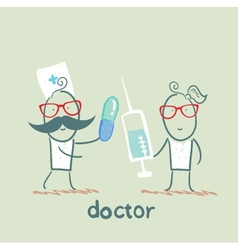 Doctor with a pill and a nurse with a syringe vector