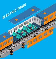 Electric train isometric composition vector