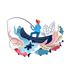 fishing sport fisherman in boat with rod catching vector image