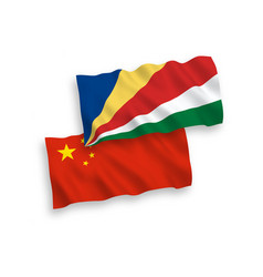 Flags seychelles and china on a white vector