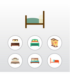 Flat bedroom set of mattress crib bed and other vector