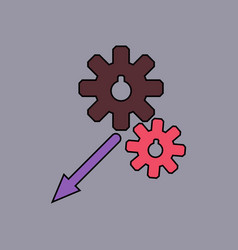 flat icon design collection two gears vector image