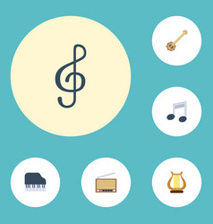 Flat icons quaver octave keyboard banjo and vector