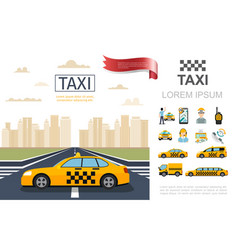 flat taxi service composition vector image