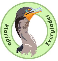 Florida everglades cormorant logo - detailed vector