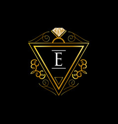 gold initial letter e jewelry sign symbol icon vector image