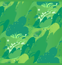 green fields with strong wind blowing out leaves vector image