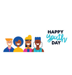 Happy teen people group for youth day web banner vector