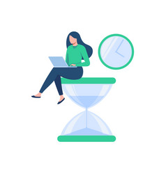 Happy woman sitting on an hourglass and working vector