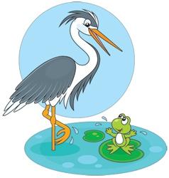 Heron and frog vector