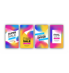 holographic gradient sale background template set vector image
