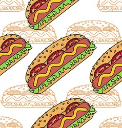 Hot dog seamless pattern Flat and thin line design vector image