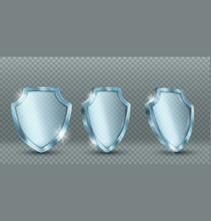 Icons transparent glass shield vector