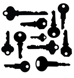 key silhouette vector image