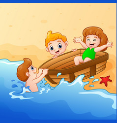 kids playing boat around water on seashore vector image