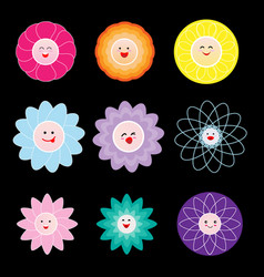 Lovely colorful flowers on black background vector