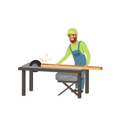 Male professional carpenter in uniform cutting a vector