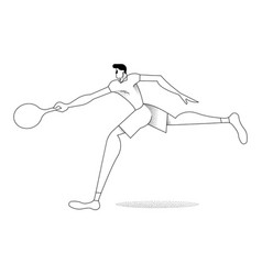 man tennis player silhouette in outline style vector image
