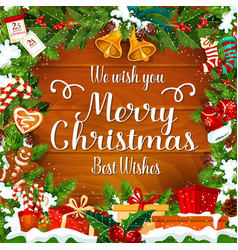 merry christmas wishes greeting card vector image