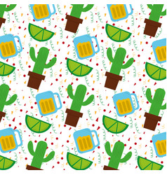 Mexican cactus plant and tequila lemon vector