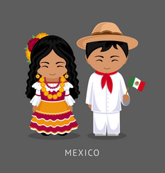 mexicans in national dress with a flag vector image