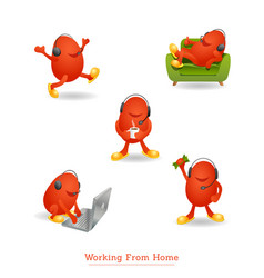 Monster character with headset working from home vector