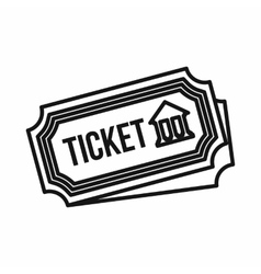 Museum ticket icon outline style vector