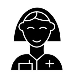 nurse solid icon woman doctor symbol vector image