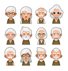 Old man and woman cartoon icon cute avatar set vector
