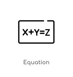 outline equation icon isolated black simple line vector image