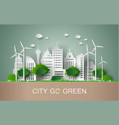 paper cut of eco concept vector image