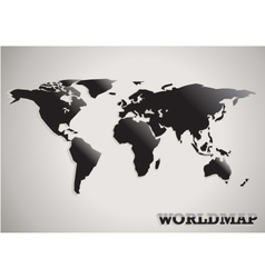 Paper cut world map black white and grey abstract vector