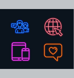 people talking internet and mobile devices icons vector image