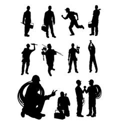 plumber gesture silhouette vector image