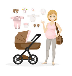 Pregnant woman and bagirl care items vector