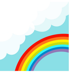 Rainbow in the sky fluffy cloud in corner vector